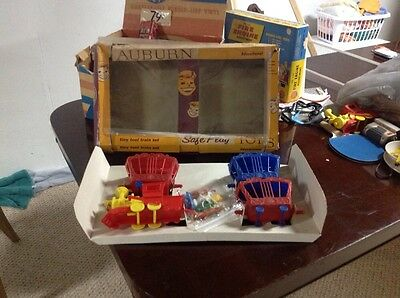Vintage1960s  Auburn Rubber Tiny Toot Circus Train And Animals With Box + wagon