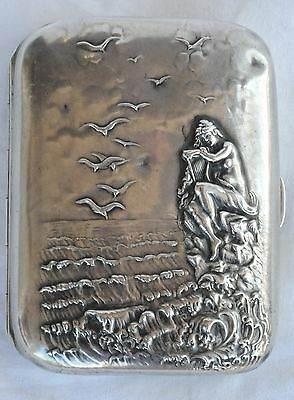 1872-1910 Unger Brothers Silver 925 Cigarette Case With Nude Woman On Sea