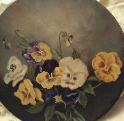 Antique wood oil painted Pansy Plate