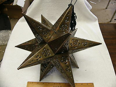 "16"" Moravian Mexican tin star lighted copper color hand punched in Mexico"