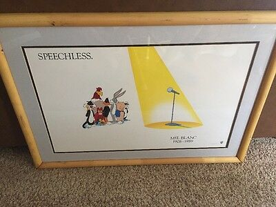 Warner Brothers Looney Tunes Speechless Poster for Mel Blanc 1989 Framed