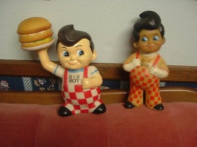 "2 VINTAGE SHONEY'S BIG BOY  Hard Rubber Vinyl 8 1/2"" BANKS   $14.99"