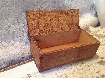 """Antique """"Jos Laus Chocolates"""" Wooden Box With Hinged Lid"""