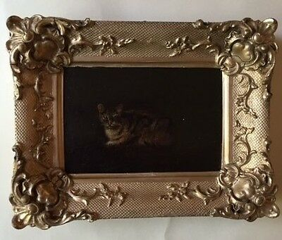 Small, Victorian oil painting of cat on board, signed and dated 1845