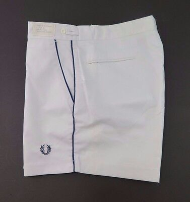 Vintage Deadstock Fred Perry Bright White Blue Trim Tennis Short Size 34 NWT NEW