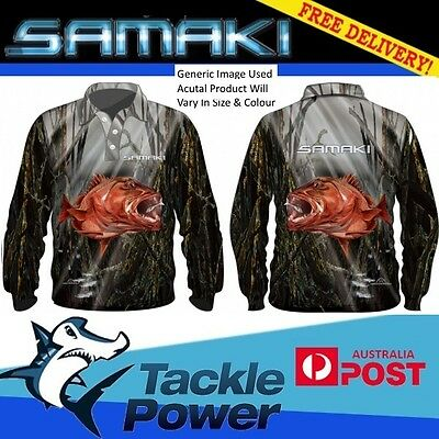Samaki Fishing Shirt Long Sleeve Mangrove Jack - Adult and Child Sizes - UPF 50+