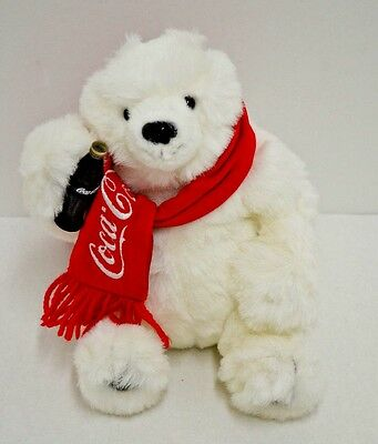 Coca Cola White Polar Bear Plush Danbury Mint Red Scarf Coke Bottle 8""