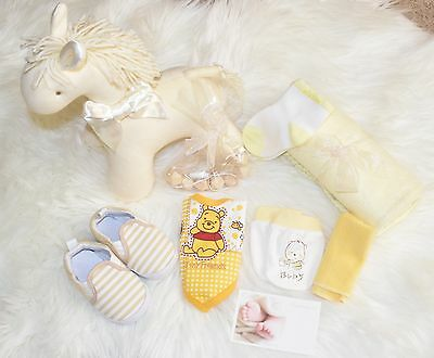 Baby gift baskets & boxes, baby shower, neutral, newborn arrival gifts, yellow