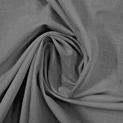 LoomLands EXTRA WIDE -250cm / 98 inches - 100% Cotton Sheeting Fabric Plain GRAY