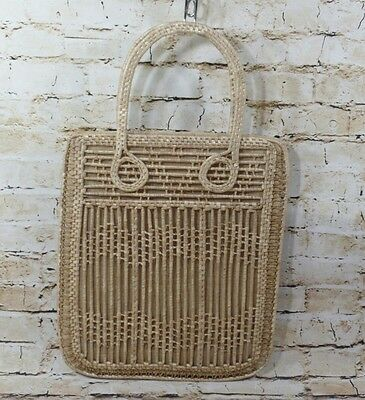 Vintage Woven Wicker Straw Tote Purse Bag  Lined Bag Republic of China