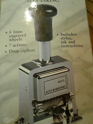 Rogers Automatic Numbering Stamp Machine With Ink And Stylus - New Sealed!