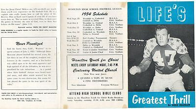 1954 LIFE'S GREATEST THRILL by DONN MOOMAW / HAMILTON HIGH SCHOOL SCHEDULE / CFL
