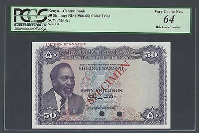 Kenya 50 Shillings ND(1966-68) P4ct Specimen Color Trial Uncirculated