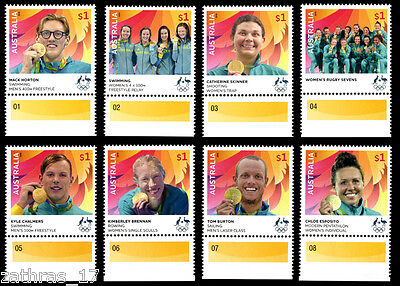 2016 Australian Olympic Gold Medallists - Set of 8 Stamps WITH TABS - MUH