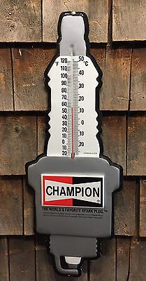 Vintage CHAMPION Spark Plug NOS Thermometer Gas Oil Advertising Sign 24x9