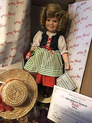 """Shirley Temple Heidi Porcelain 13"""" Doll Danbury Mint With Certificate & Box"""