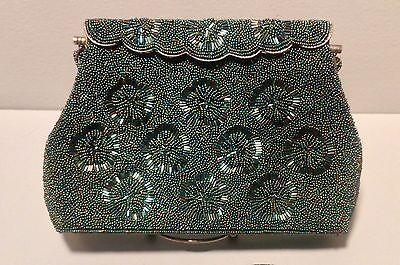 Vintage Mid Century Black Iridescent Beaded Hand Bag Purse Made in Hong Kong