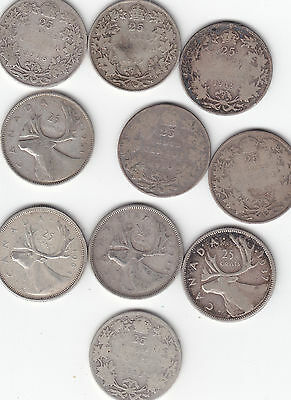 Lot Of 10 Silver Canada Quarters
