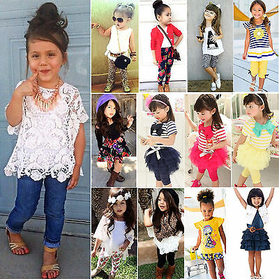 2PCS Summer Kids Girls Princess Floral Dress T-shirt Top Pants Casual Outfit Set