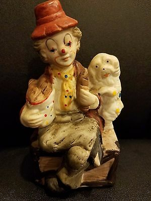 """Vtg Ceramic Clown With a Dog  Sitting On the Chest 5"""" h"""