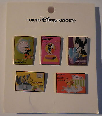 Disney Pin Japan TDL FAB 5 Rectangle Series 5 Pins