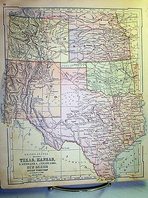 Antique Texas Oklahoma Colorado Kansas 1875 Map Old Original Color