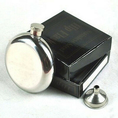 Portable 5OZ Specular Glossy Hip Flask Stainless Steel Circular Type Flagon