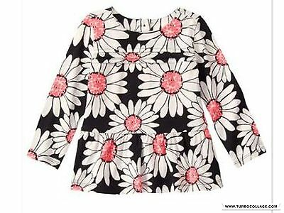 NEW Gymboree  KITTY IN PINK Black White Daisy Pleated Tunic Top  NWT 18-24 MTHS