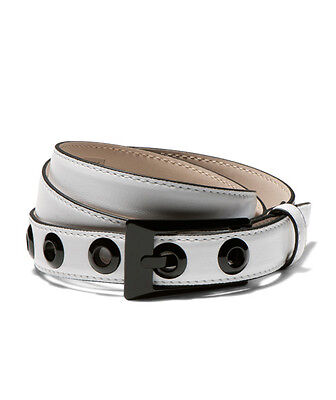 CUE White & Black Genuine Leather Belt Size S Small