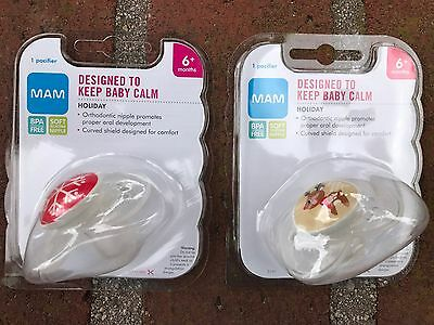 Brand New Set Of 2 MAM Pacifiers Holiday Infant Baby 6 Months