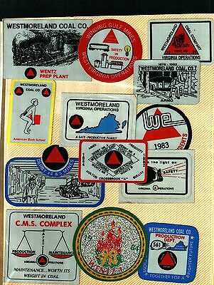 13 Different Nice Westmorland Coal Co. Coal Mining Stickers # 524