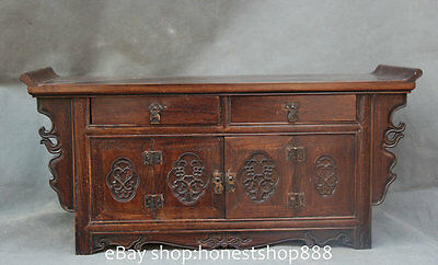 "11"" Old Chinese Style Solid Wood Floral Carved /Entrance Console Cabinet / Table"
