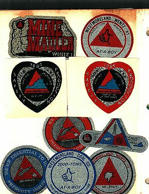 9 Different Nice Westmorland Coal Co. Coal Mining Stickers # 526