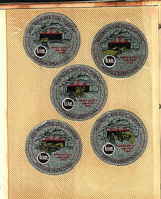5 Different Nice (Set) Westmorland Coal Co. Coal Mining Stickers # 527