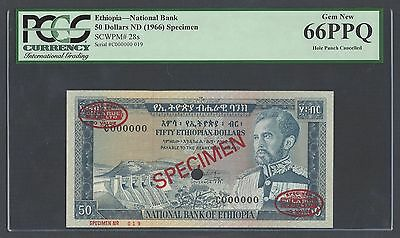 Ethiopia 50 Dollars ND(1966) P28s Specimen TLDR Uncirculated