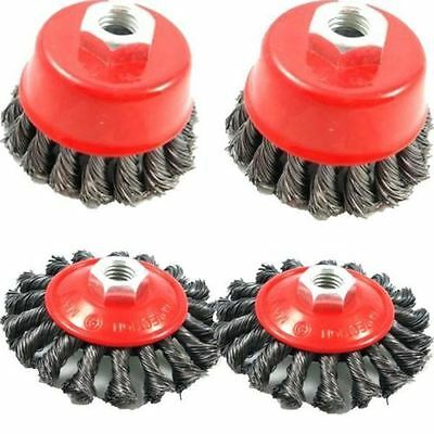 UK 4pc TWIST KNOT SEMI FLAT WIRE WHEEL CUP BRUSH SET KIT FOR 115MM ANGLE GRINDER