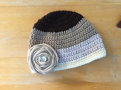 BROWN FAWN & CREAM BABY GIRLS  CROCHET BEANIE with fabric flower -Made in WA