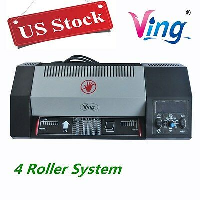 US Stock - 110V A4 Hot & Cold Pouch Steel Thermal Laminator, 4 Roller System