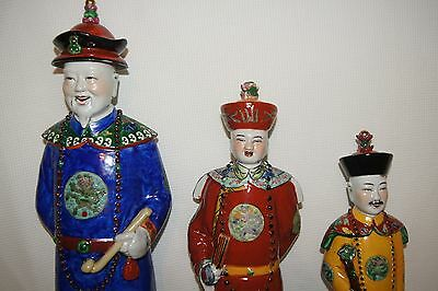 Large Chinese Porcelain Immortal Scholar Famille Rose Figurines Signed Mark