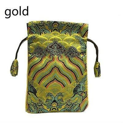 Chinese Satin Silk Jewellery Drawstring Pouch Purse Bag Embroidery Present Retro