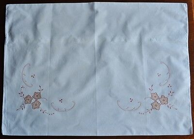 2x Antique Hand Embroidered Pillowcases Wedding Day Dark Pink Embroidery