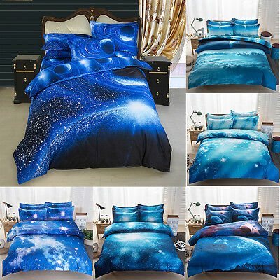 3D Bed Set Duvet Cover Fitted Sheet Pillowcase Twin/Queen Size Galaxy Pattern