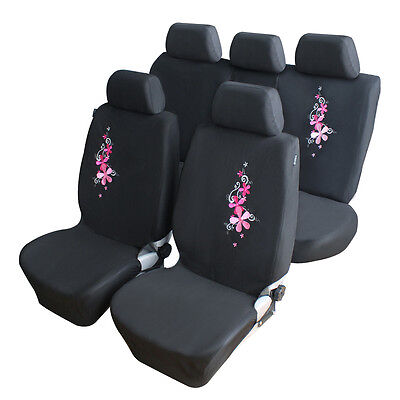 Universal 9PCS Pink Embroidery Flower Car Full Seat Cover Interior Protector Pad