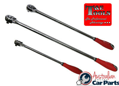 "Extra Long Handle Ratchet 3 Pce SET 1/4"" 1/2"" 3/4"" Drive T&E Tools 22580 NEW SPE"