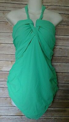 Liz Lange Maternity One Piece Halter Swimsuit Mint Green Size XL NEW
