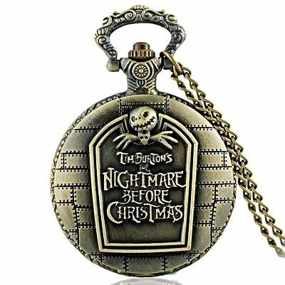 Nightmare Before Christmas Jack Bronze Headstone Pocket Watch Pendant Necklace
