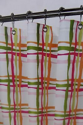 Magic Makeover Wavy Lines Tangelo Fabric Shower Curtain 70 X NIP