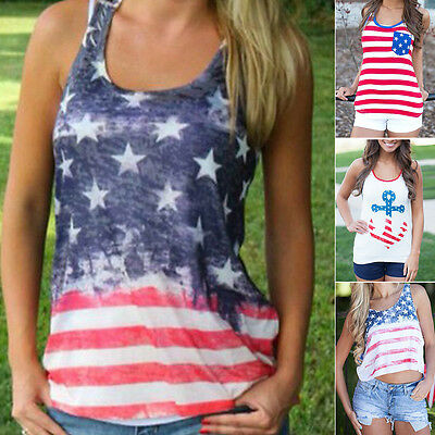 Women Casual O-Neck Sleeveless Vest T shirt Top Print Tank Top American Flag