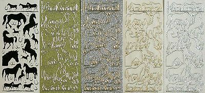 SPARKLE Horses PEEL OFF STICKERS Horseshoe Foals Riding  Animals Cardmaking