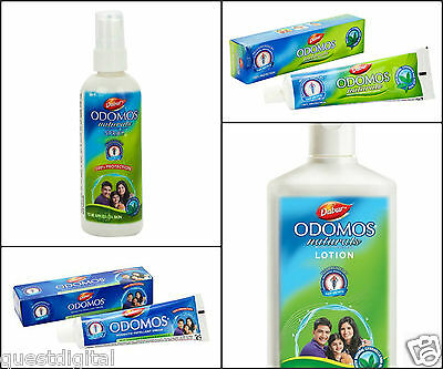 Odomos Mosquito Repellent Cream Lotion Spray Insects All Day Protection Dabur